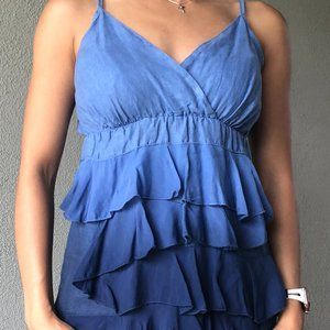 Glocal Linen Blue Tiered Top - Made in Italy Sz Sm